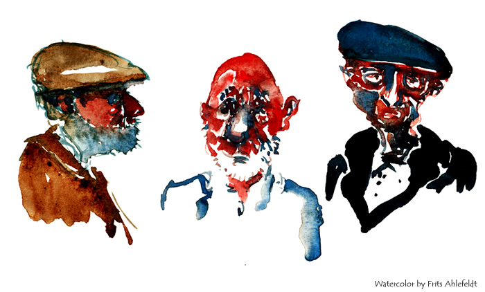 Watercolor study of three old men, Painting by Frits Ahlefeldt