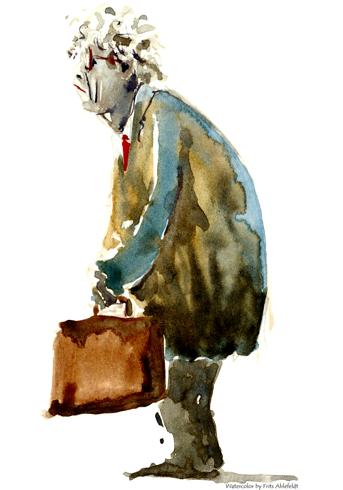 Watercolor of a man looking old and tired. Watercolour painting by Frits Ahlefeldt