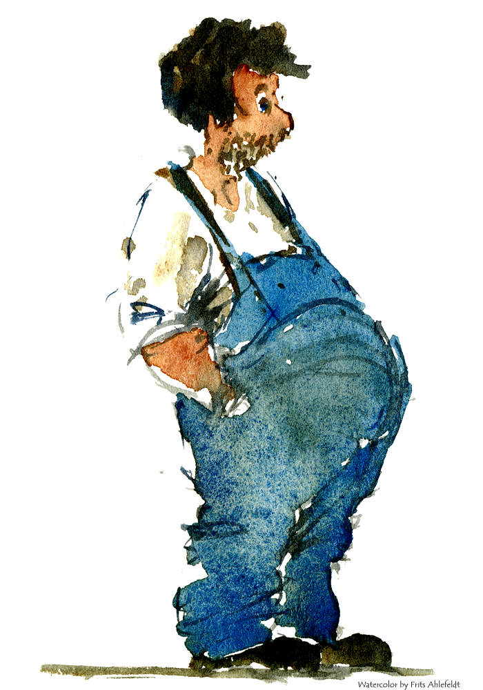 Watercolor illustration of a man with his hands in his pockets. Watercolour painting by Frits Ahlefeldt