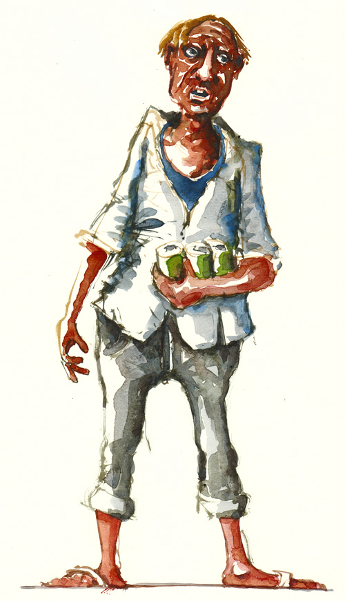 Watercolor illustration Man with cans of beer. Watercolour painting by Frits Ahlefeldt