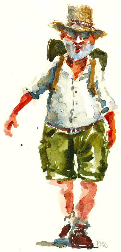Watercolor illustration of a man with a backpach - walking. Watercolour painting by Frits Ahlefeldt