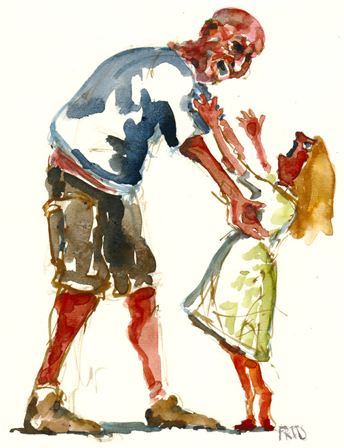 Pure watercolor of a man reaching out to help unhappy girl. Watercolour painting by Frits Ahlefeldt