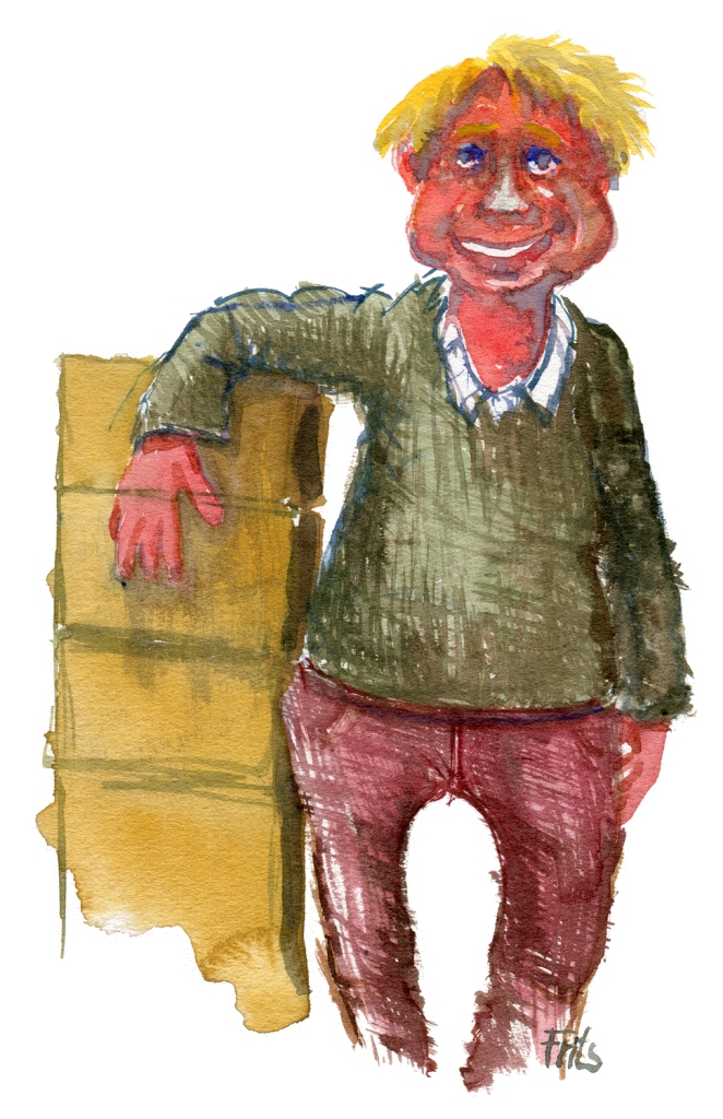 man standing by boxes watercolor by frits ahlefeldt