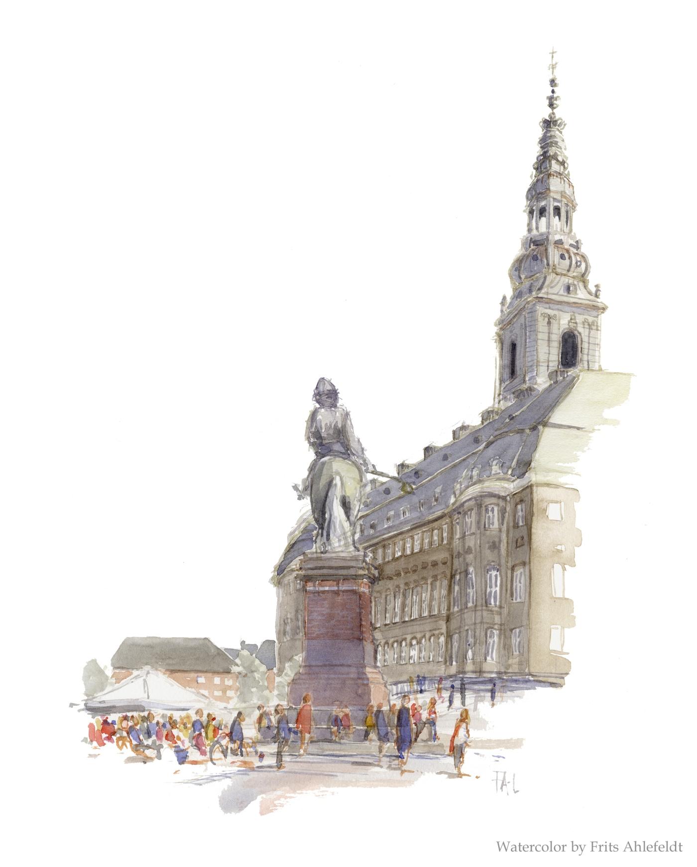 Danish Parliament Christiansborg Copenhagen Watercolor by Frits Ahlefeldt