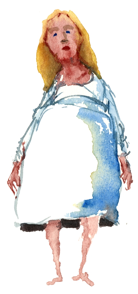 yellow hair woman looking watercolor by frits ahlefeldt