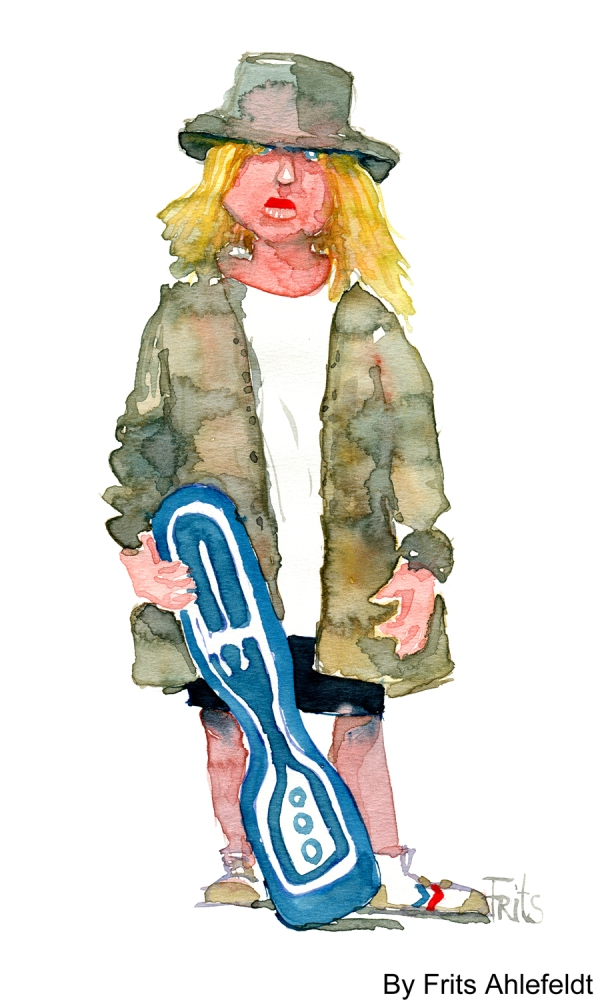 Girl standing with skateboard watercolor by frits ahlefeldt