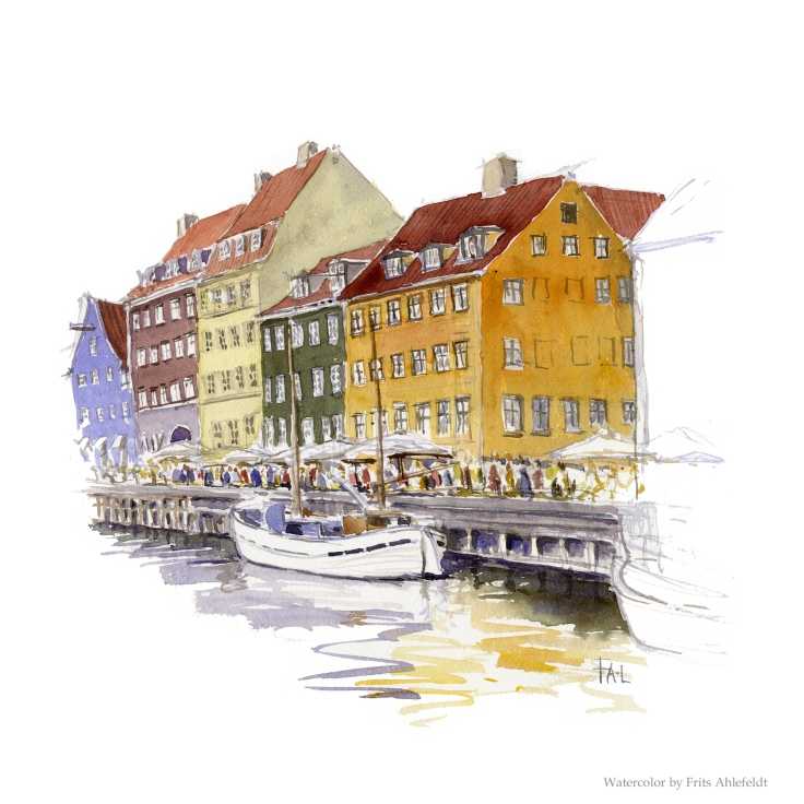 Channel with fishing boat, copenhagen Watercolor by Frits Ahlefeldt