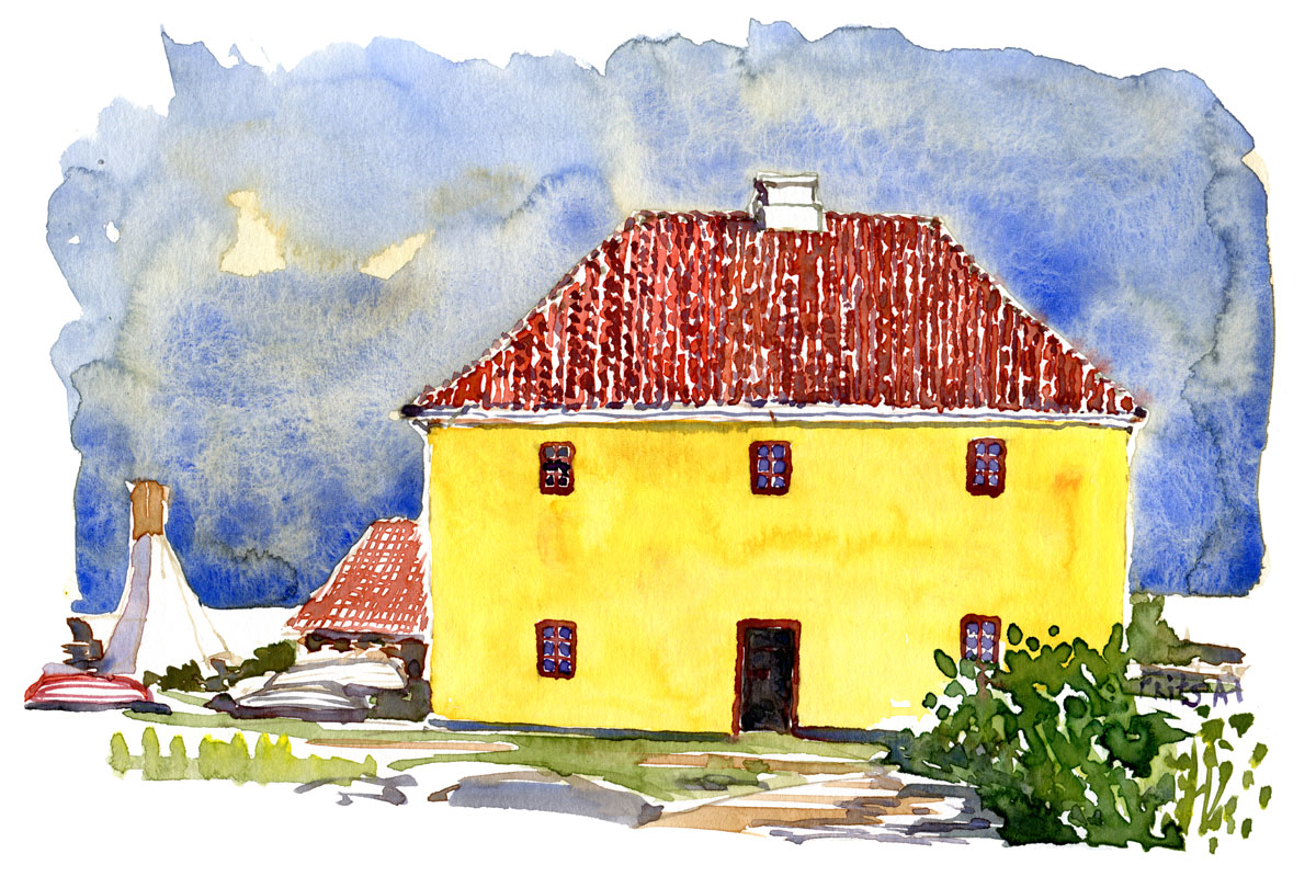 Watercolor of the old prison on Frederiksoe, Ertholmene. Painting by Frits Ahlefeldt