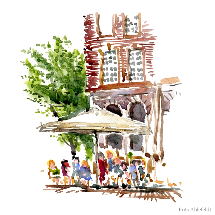 Graabrodre square Copenhagen Watercolor by Frits Ahlefeldt