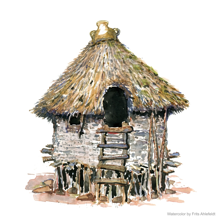 little round hut with thatched roof watercolor by Frits Ahlefeldt