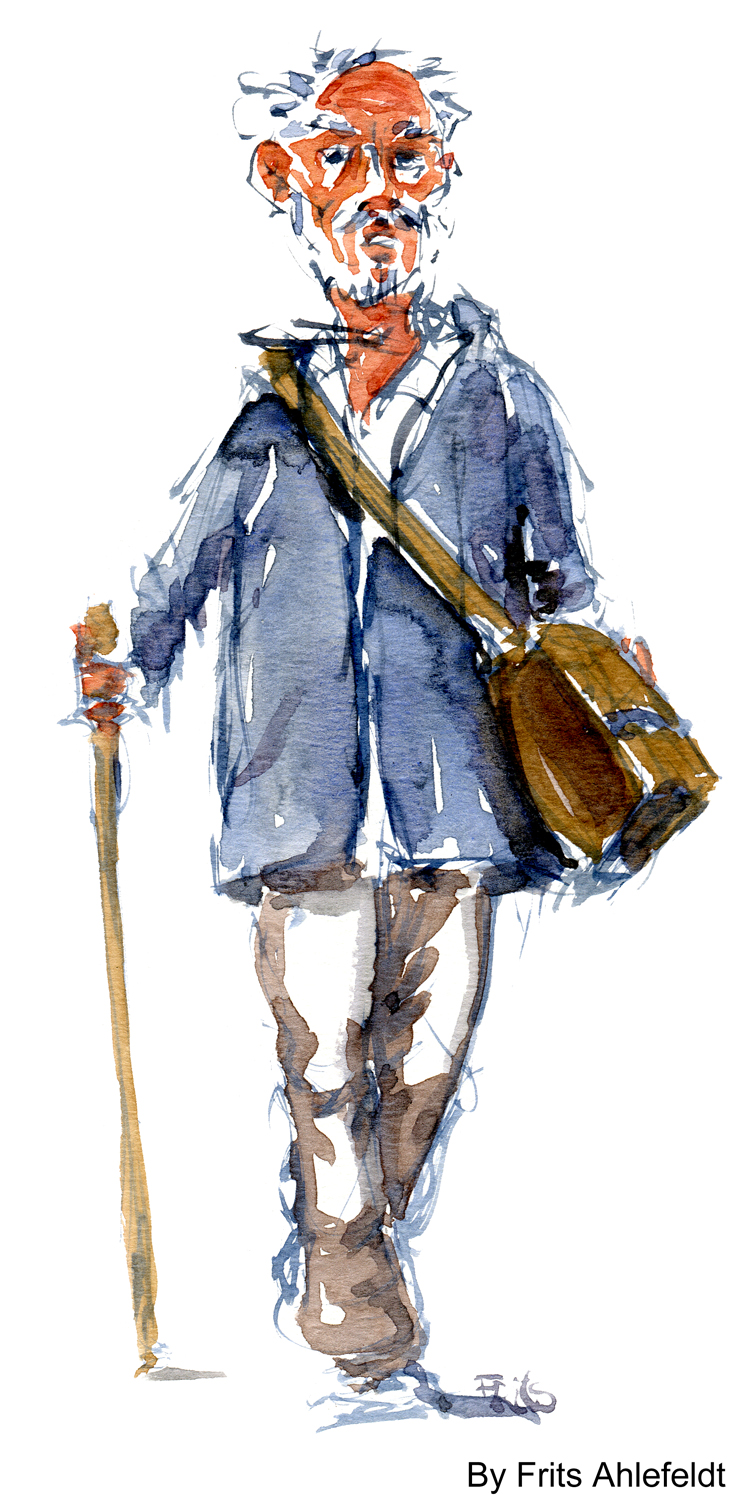 old man walking, white hair watercolor-by-frits-ahlefeldt