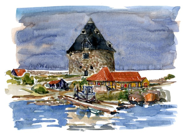 "Watercolor of the naval fortress tower ""small tower"" on Ertholmene - Watercolor by Frits Ahlefeldt"