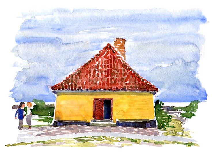 the-moon-ertholmene-community-house-watercolor-by-frits-ahlefeldt