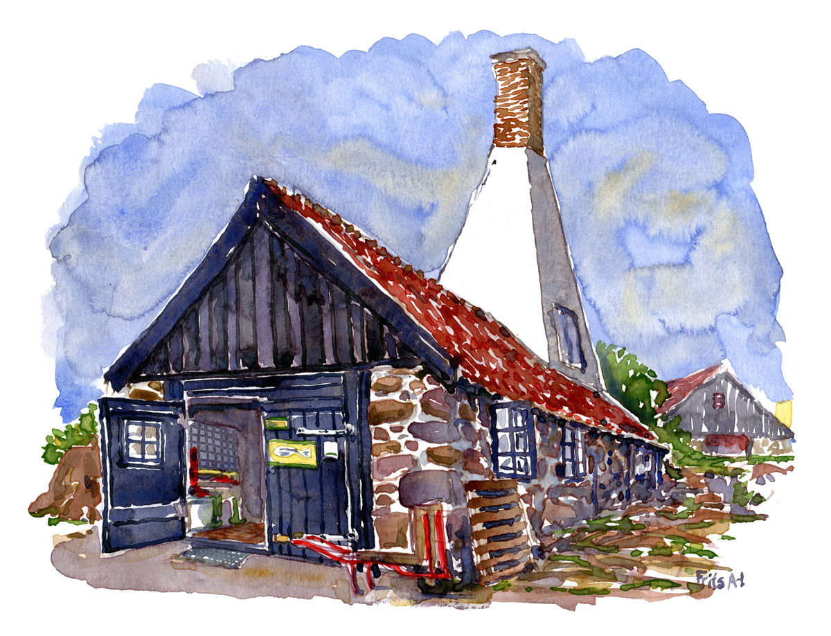 Painting of a old boathouse turned into a tiny Herring factory on Ertholmene. Frederiksø. Denmark. Watercolor by Frits Ahlefeldt
