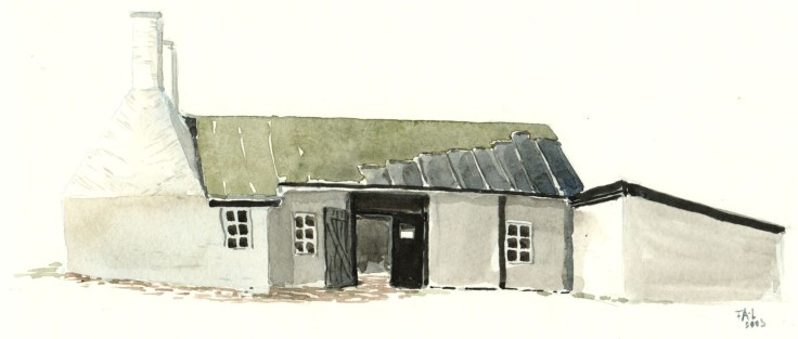 Hasle herring smokery Bornholm watercolor by frits ahlefeldt
