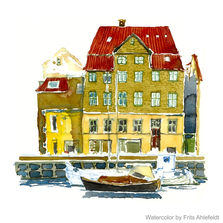 houses and channel Copenhagen Watercolor by Frits Ahlefeldt