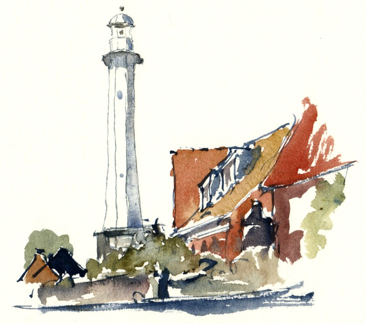Roenne harbor lighthouse Bornholm watercolor by frits ahlefeldt