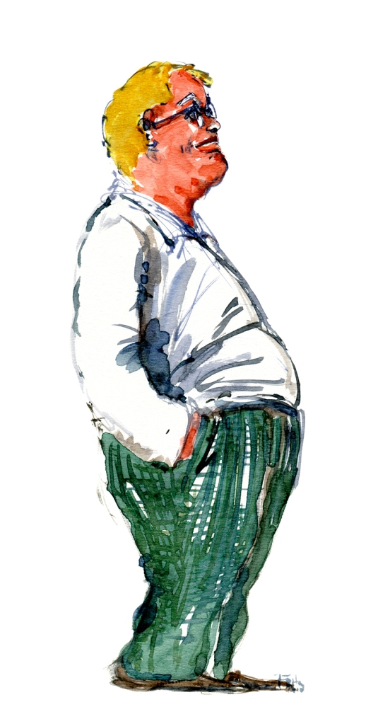 Man looking up watercolor-by-frits-ahlefeldt