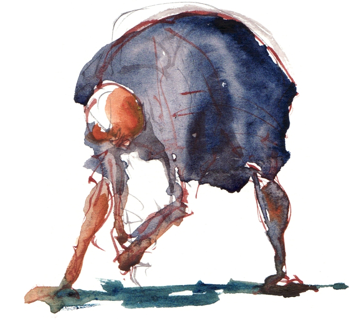person bending down watercolor by frits ahlefeldt