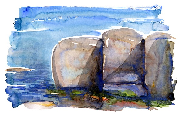 watercolor of granite rocks on Ertholmene islands in the Baltic sea. Watercolor by Frits Ahlefeldt.