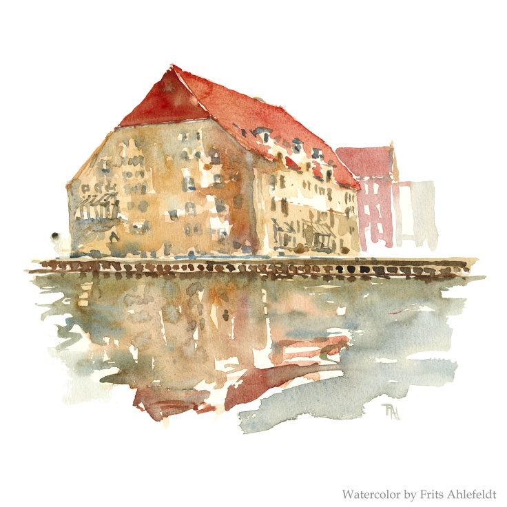 Old harbour house Copenhagen Watercolor by Frits Ahlefeldt