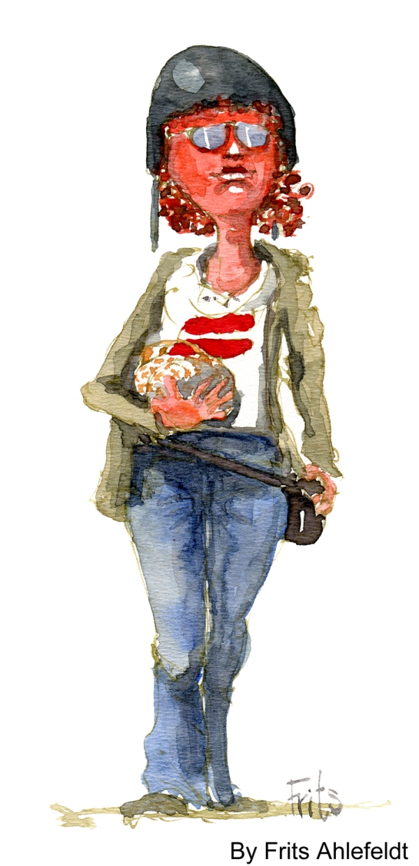 girl with helmet watercolor by frits ahlefeldt