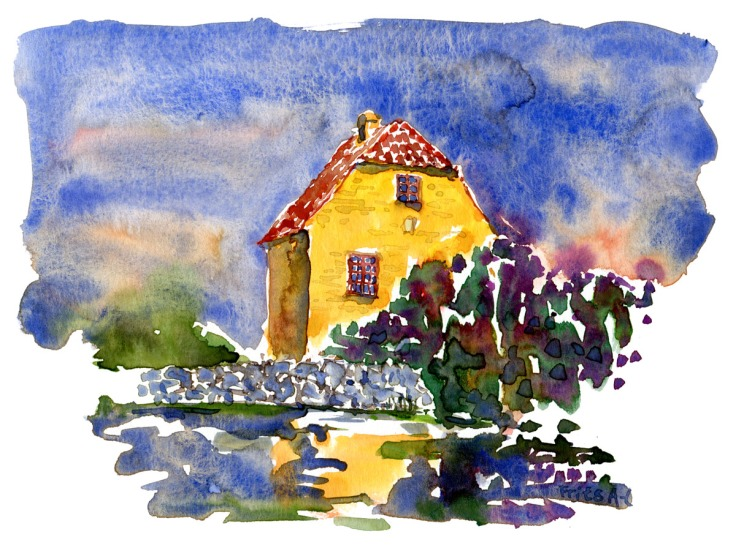 The mill house and pond. Ertholmene. Christiansø. Watercolor by Frits Ahlefeldt