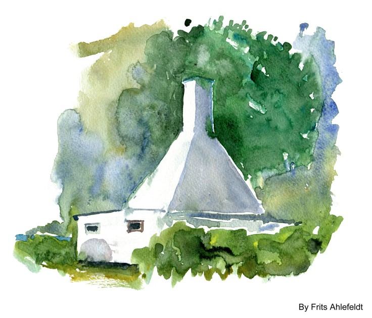 Fish smoke chimney house Bornholm watercolor by frits ahlefeldt
