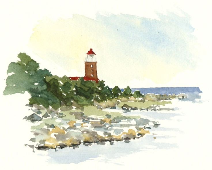 Svaneke lighthouse watercolor by frits ahlefeldt