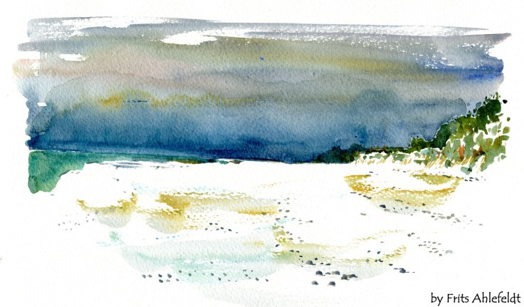 Beach Bornholm watercolor by frits ahlefeldt