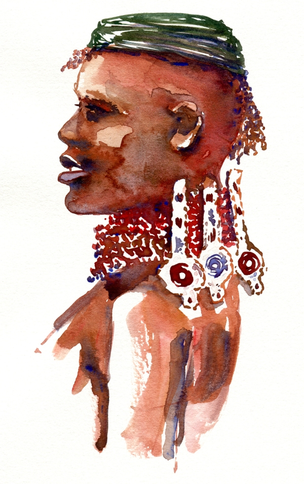 Nomad portrait watercolor by frits ahlefeldt