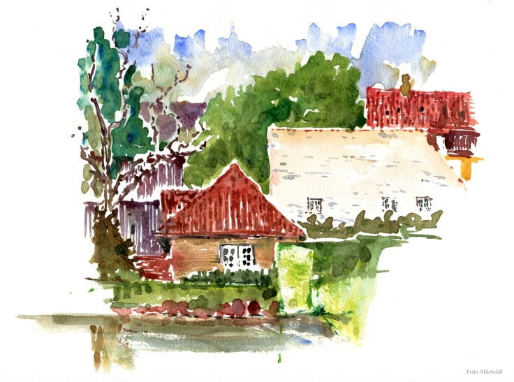 Kings garden house Copenhagen Watercolor by Frits Ahlefeldt