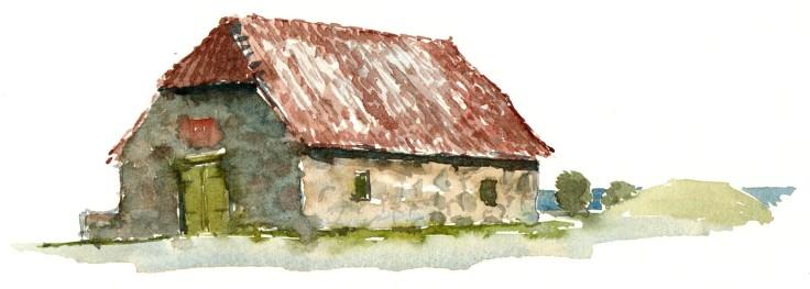 Svaneke, Bornholm watercolor by frits ahlefeldt