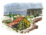 Watercolor of granite hut on Christiansø. Ertholmene. Denmark