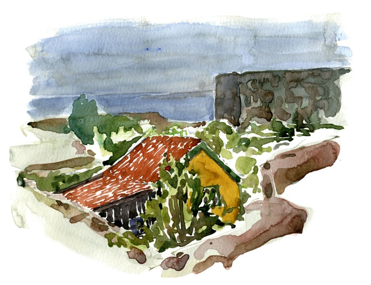 Watercolor of granite hut on Christiansø. Ertholmene. Denmark