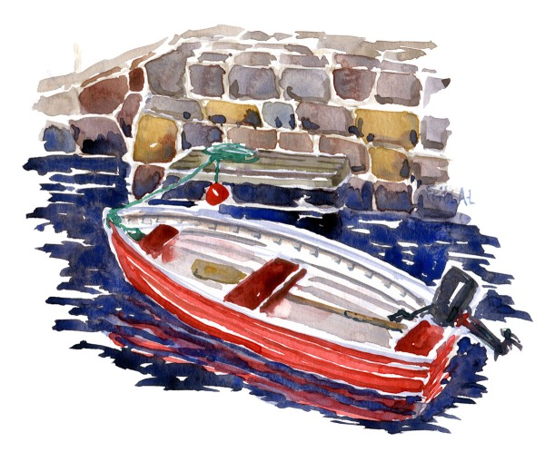 Watercolor painting of a red boat with outboard engine. Christiansø. Ertholmene painting by frits Ahlefeldt