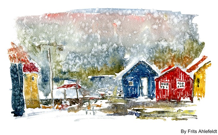 Rainy day Bornholm watercolor by frits ahlefeldt