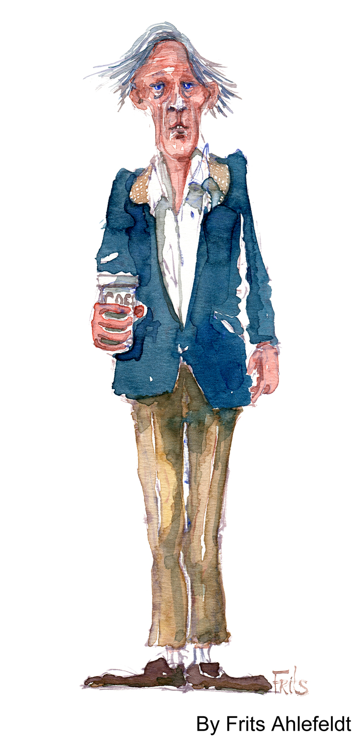 Old man with coffee watercolor by frits ahlefeldt