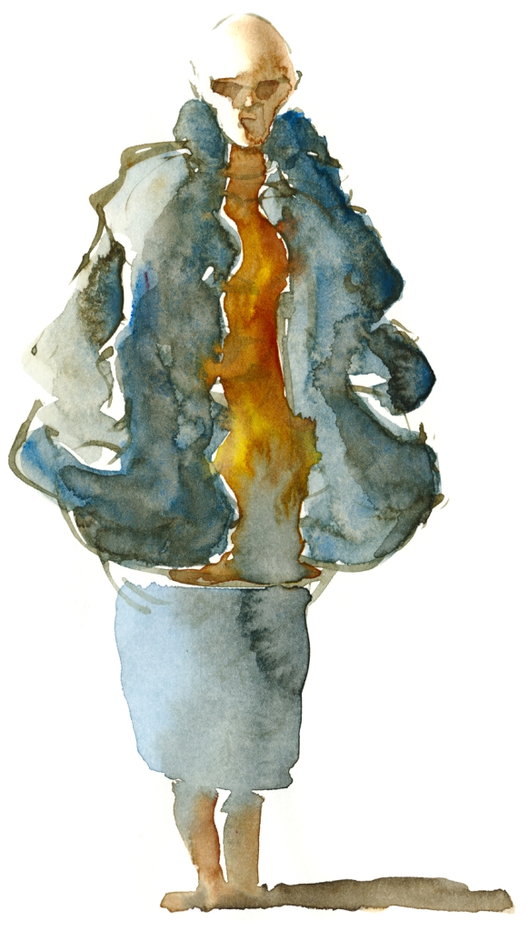 Bald woman with sunglasses watercolor by frits ahlefeldt