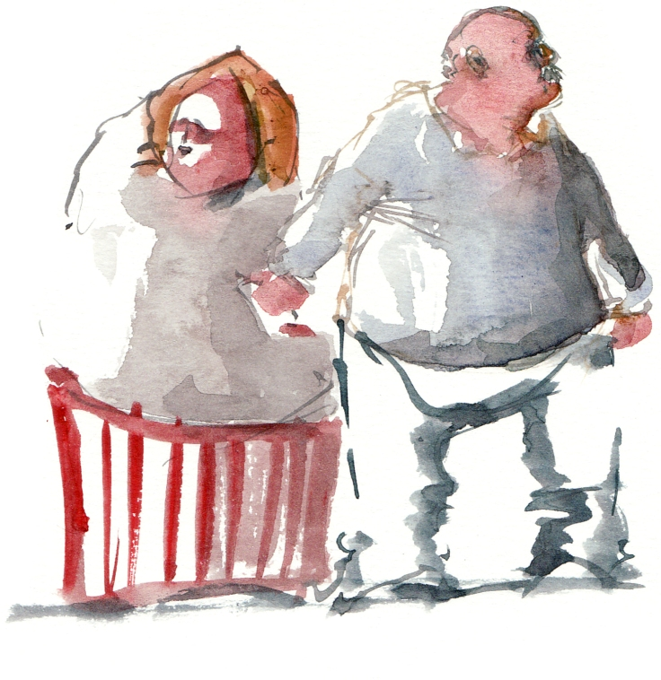 old couple walking watercolor by frits ahlefeldt