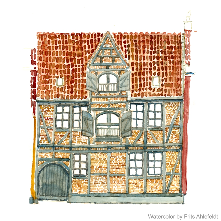 Christianshavn house Copenhagen, Watercolor by Frits Ahlefeldt