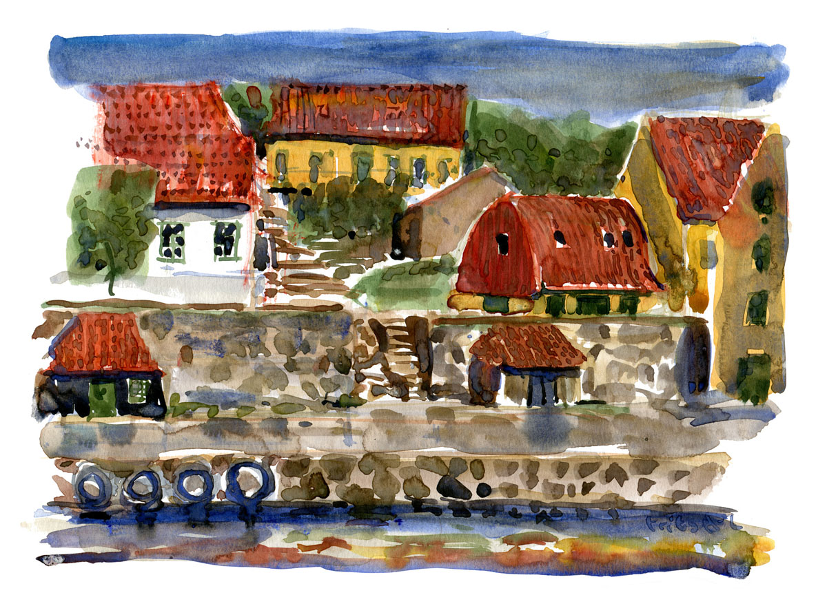 Watercolor painting of houses on Ertholmene. Painting by Frits Ahlefeldt