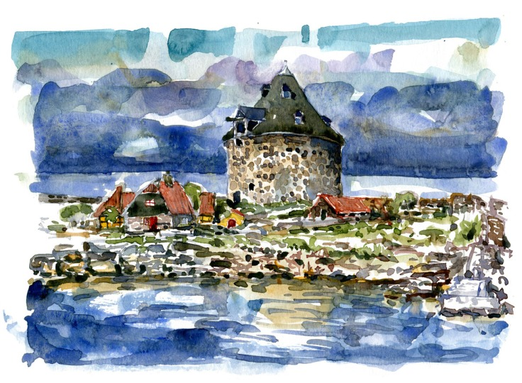 "Naval fortress tower on Ertholmene. Watercolor of ""small tower"" on Frederiksø. Baltic Sea. Denmark. Painting by Frits Ahlefeldt"