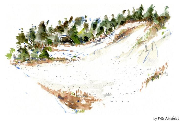 Beach Bornholm watercolor by frits ahlefeldt