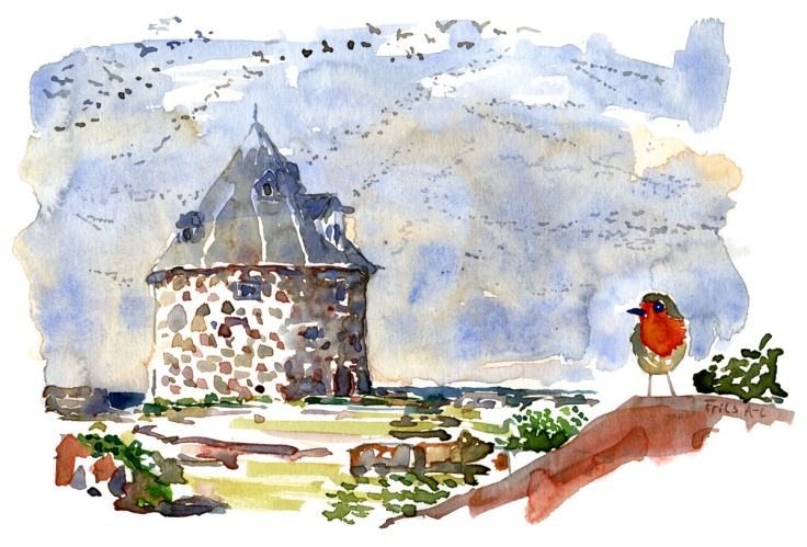 Naval fortress - Baltic Sea - Bird in front of Lille tårn, Frederiksoe, Ertholmene watercolor by Frits Ahlefeldt