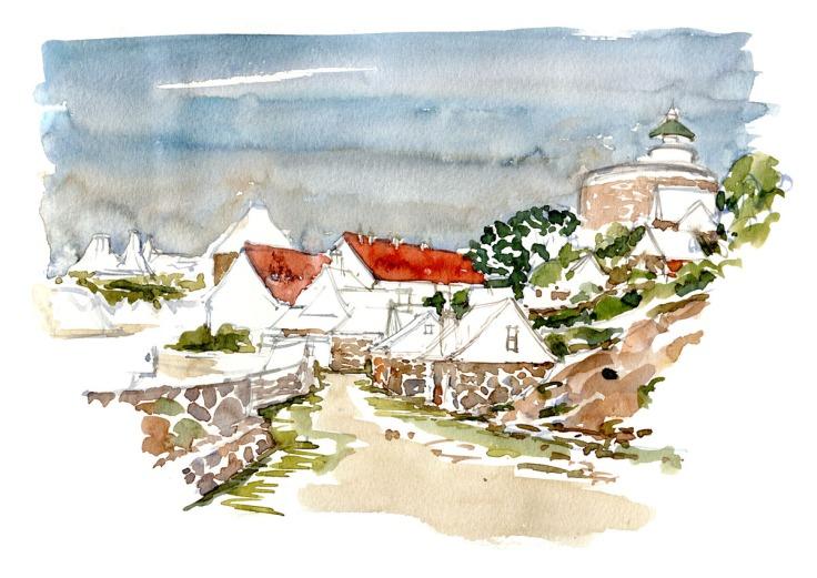 Ertholmene watercolor by Frits Ahlefeldt