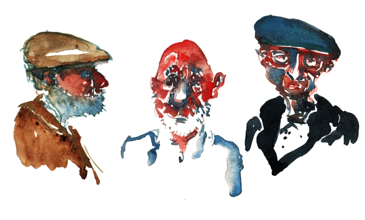 three old men watercolor-by-frits-ahlefeldt