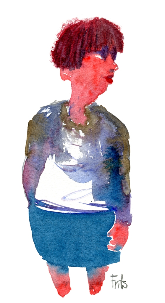 Woman with red hair watercolor by frits ahlefeldt