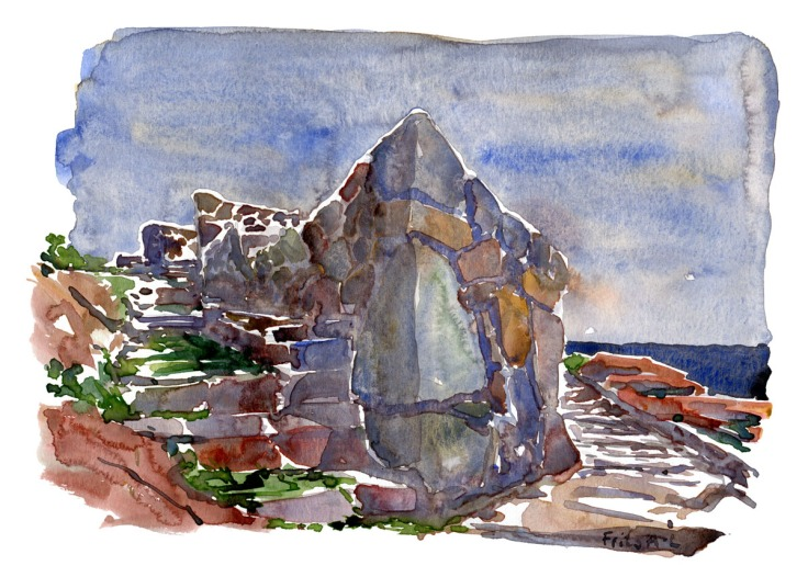 Watercolor of Defence wall on the ancient naval fort of Christiansø. Ertholmene. Denmark in the baltic sea. Watercolor by Frits Ahlefeldt