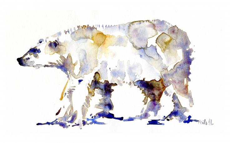 Polarbear watercolor by Frits Ahlefeldt